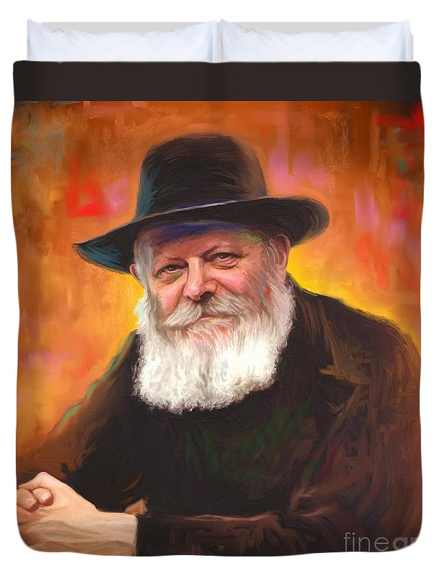 Lubavitcher Rebbe Duvet Cover featuring the painting Lubavitcher Rebbe by Sam Shacked