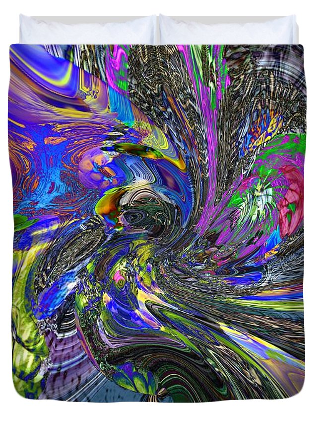 Abstract Duvet Cover featuring the digital art Lucid Dream - The Garden by Richard Thomas