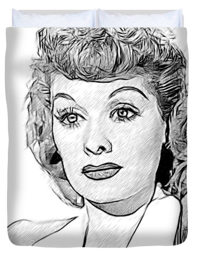 Celebrity Duvet Cover featuring the drawing Lucille Ball 002 by Dean Wittle