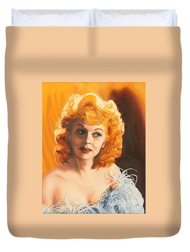 Lucy Duvet Cover featuring the painting Lucille Desiree by Guy C Lockwood