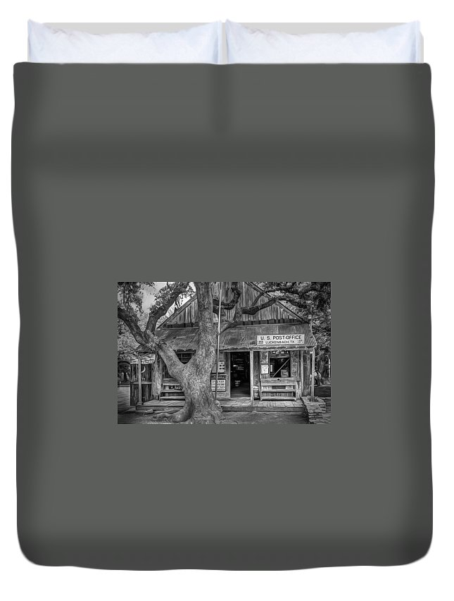 Luckenbach Duvet Cover featuring the photograph Luckenbach 2 Black and White by Scott Norris
