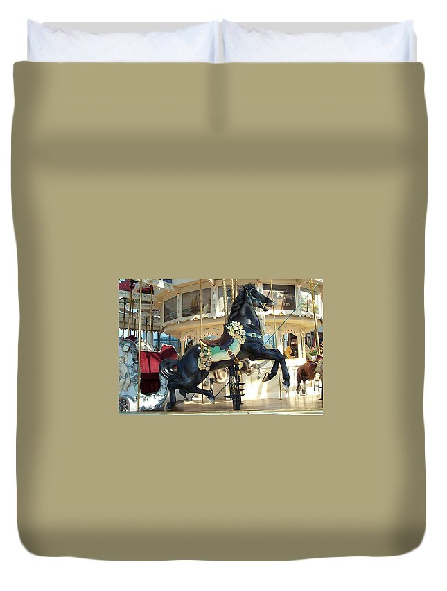Carousel Duvet Cover featuring the photograph Lucky Black Pony - Syracuse Ptc No 18 by Barbara McDevitt