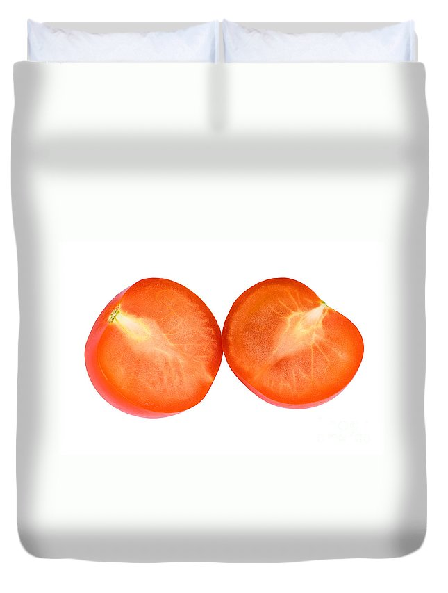Tomato Duvet Cover featuring the photograph Lucky Cut 01 by Rick Piper Photography