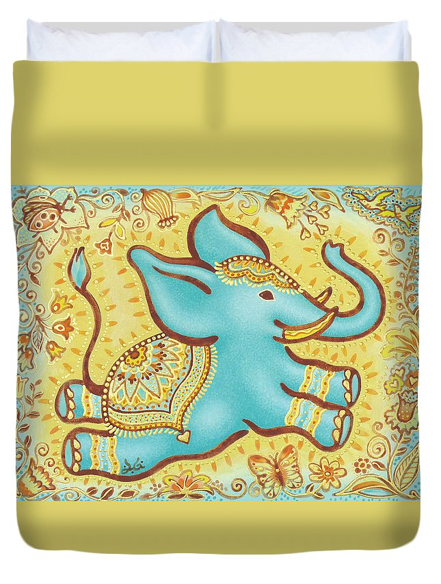 Lucky Elephant Turquoise Duvet Cover featuring the painting Lucky Elephant Turquoise by Judith Grzimek