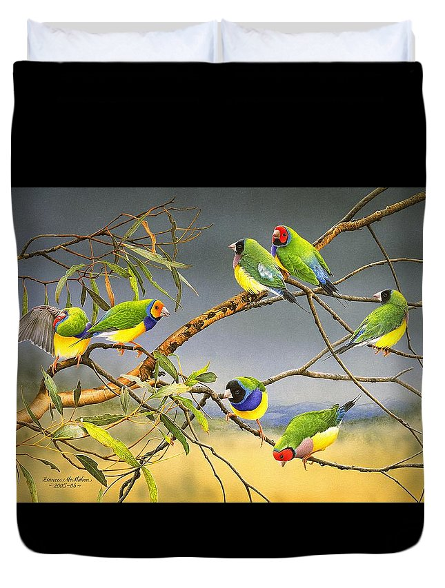 Gouldian Finches Duvet Cover featuring the painting Lucky Seven - Gouldian Finches by Frances McMahon