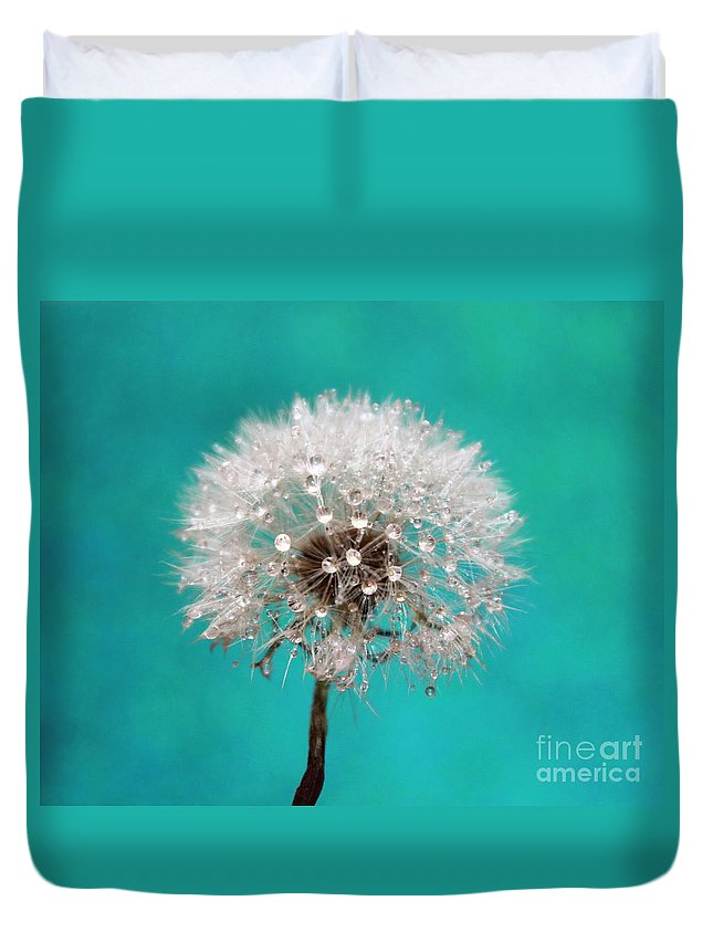 Dandelion Duvet Cover featuring the photograph Lucky Wish by Krissy Katsimbras