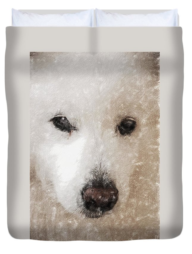 Dog Duvet Cover featuring the digital art Lucy Light Color Pencil by David Lange