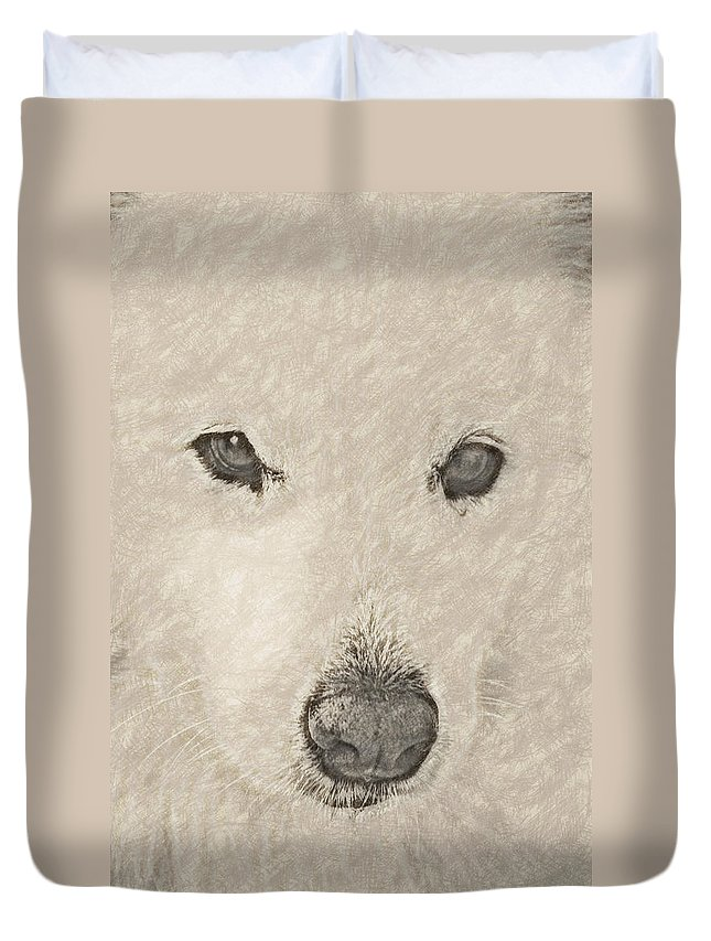Dog Duvet Cover featuring the digital art Lucy Pastel Highlight by David Lange