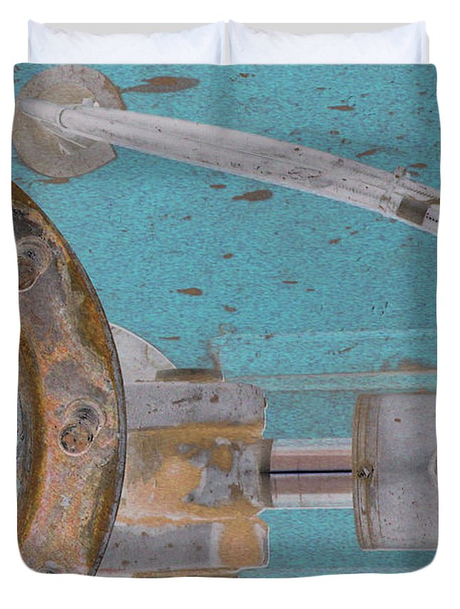 Equipment Duvet Cover featuring the photograph Lug Nut Wheel Left Turquoise And Copper by Heather Kirk