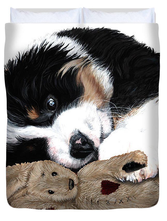 Bernese Mountain Dog Duvet Cover featuring the painting Lullaby Berner And Bunny by Liane Weyers