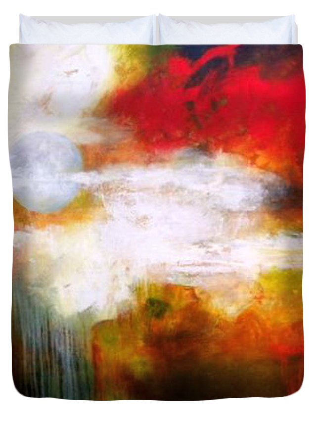 Abstract Duvet Cover featuring the painting Luna Silente by Thelma Zambrano