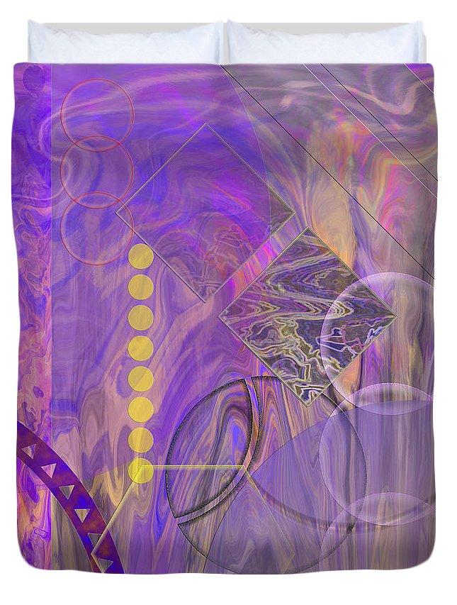 Lunar Duvet Cover featuring the digital art Lunar Impressions 3 - Square Version by John Robert Beck