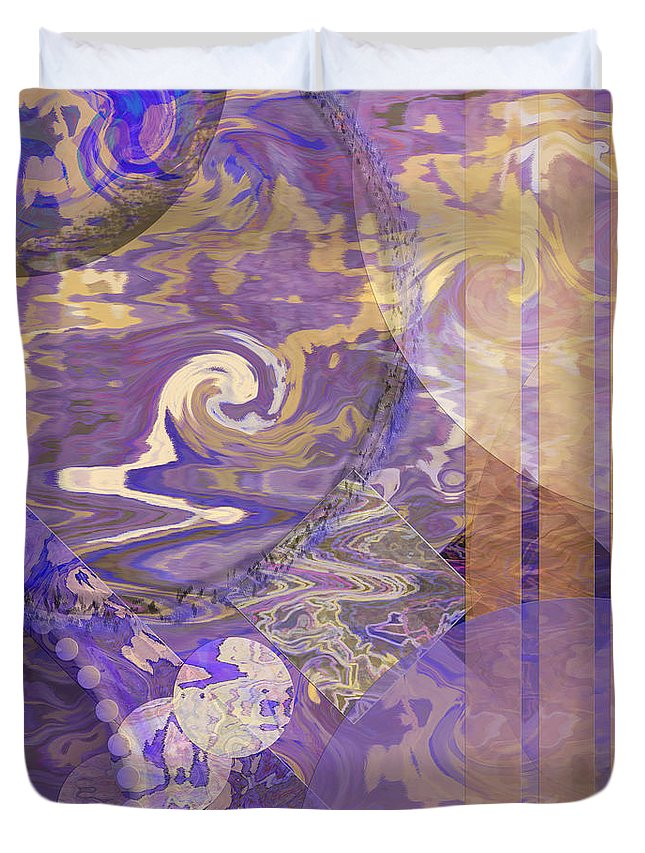 Lunar Duvet Cover featuring the digital art Lunar Impressions - Square Version by John Robert Beck