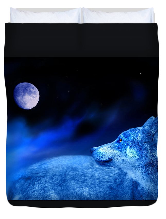 Wolf Duvet Cover featuring the photograph Lunar Wolf 2 by Mal Bray