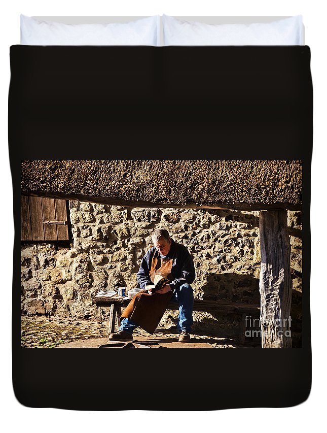 Lunch Duvet Cover featuring the photograph Lunch Break At The Forge by Susie Peek