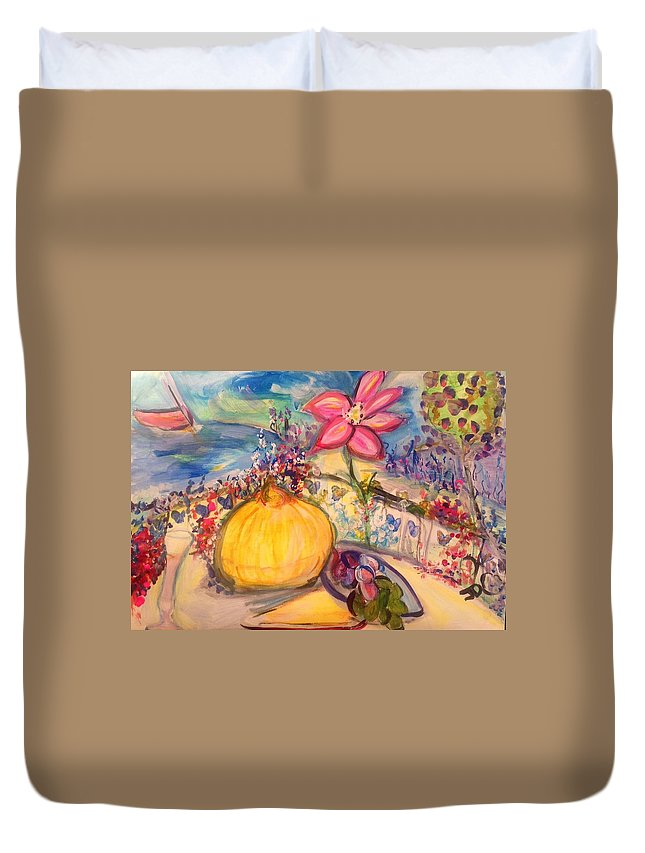 Terrace Duvet Cover featuring the painting Lunch On The Terrace by Judith Desrosiers