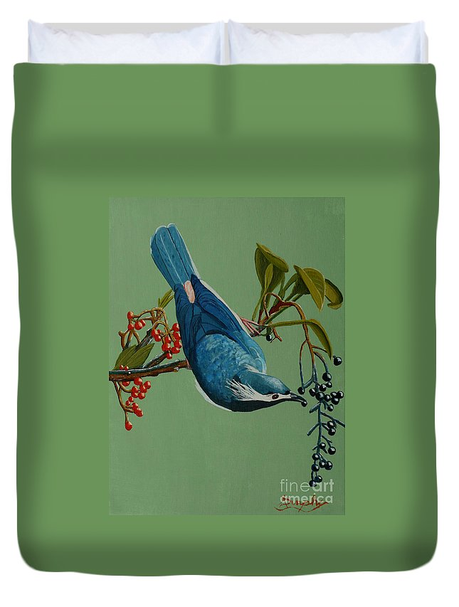 Bird Duvet Cover featuring the painting Lunch Time For Blue Bird by Anthony Dunphy