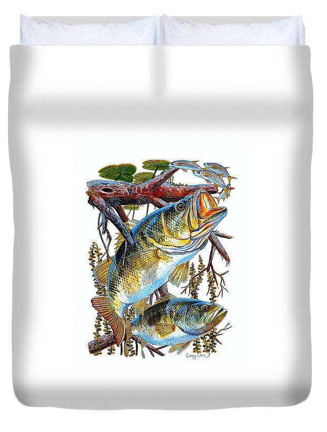 Bass Duvet Cover featuring the painting Lurking Bass by Carey Chen