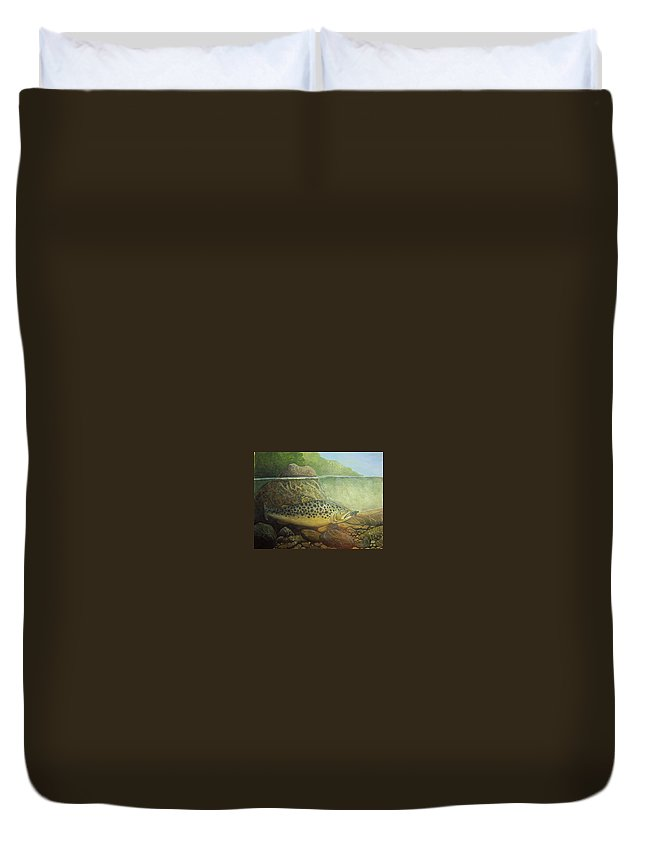 Rick Huotari Duvet Cover featuring the painting Lurking by Rick Huotari