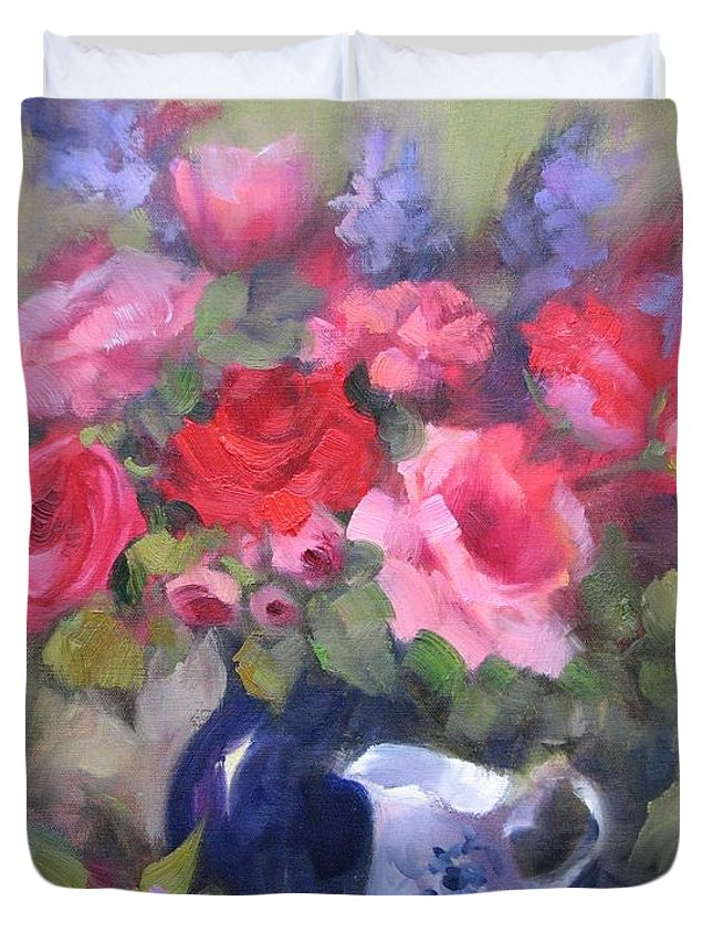 Roses Duvet Cover featuring the painting Luscious Roses by Karin Leonard