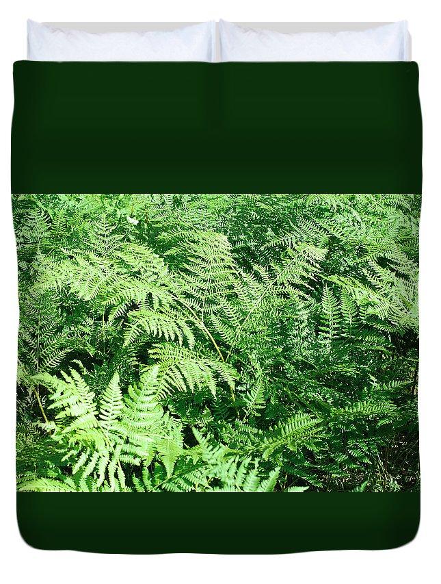 Fern Duvet Cover featuring the photograph Lush Green Fern by Connie Fox