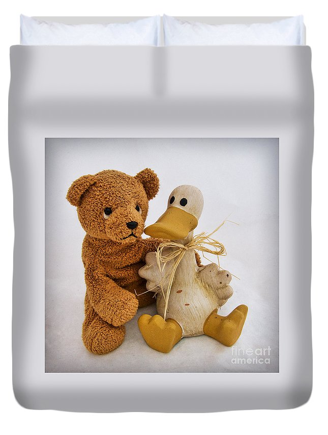 Teddy Bear Duvet Cover featuring the photograph Luv A Duck by Susie Peek
