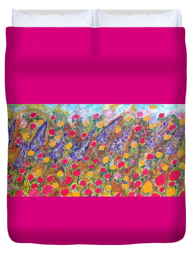 Floral Duvet Cover featuring the painting Lydia's Dream by Rakhee Krishna