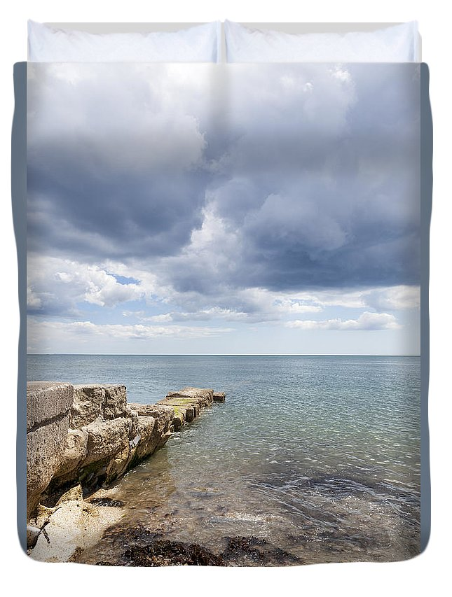 Lyme Bay Duvet Cover featuring the photograph Lyme Bay by Gillian Dernie