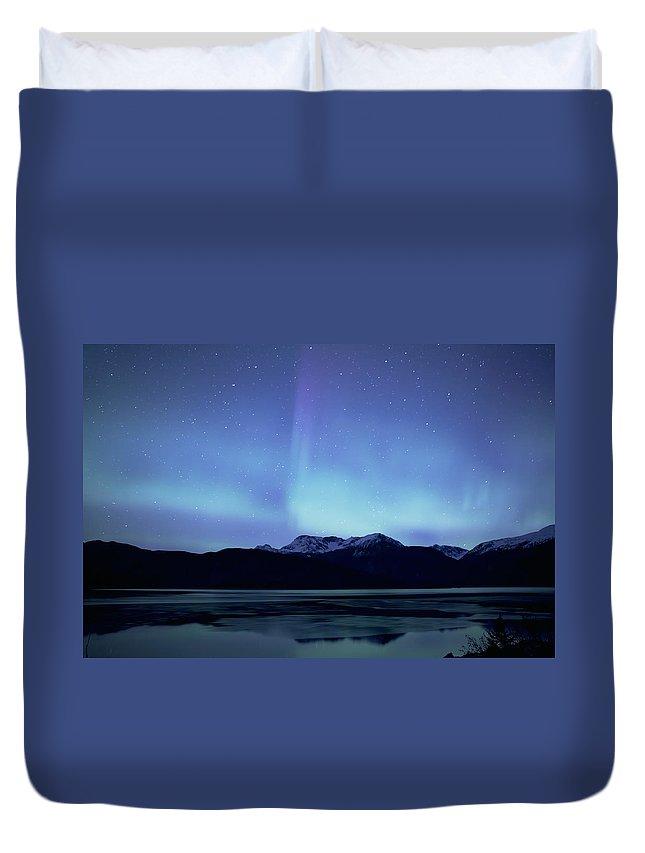 Alaska Duvet Cover featuring the photograph Lynn Canal Aurora by Michele Cornelius
