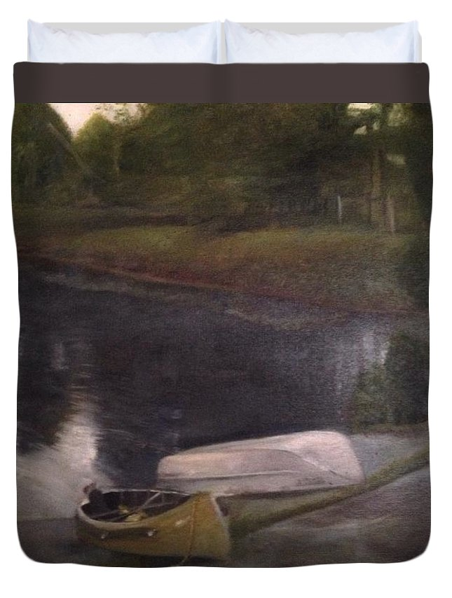 Moose River Duvet Cover featuring the painting Lyons Falls - Moose River by Sheila Mashaw