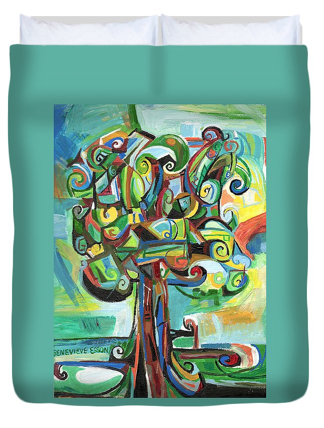Tree Duvet Cover featuring the painting Lyrical Tree by Genevieve Esson