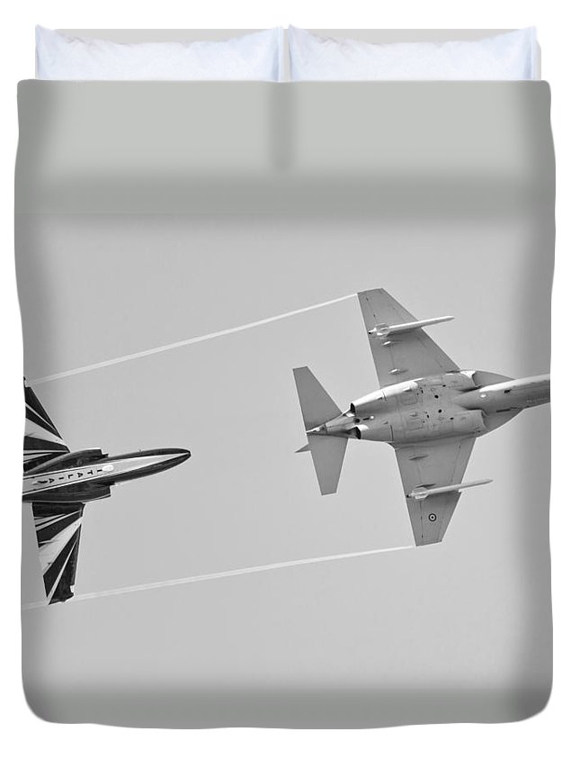 Military Trainer Aircraft Duvet Cover featuring the photograph M-346 by Maj Seda