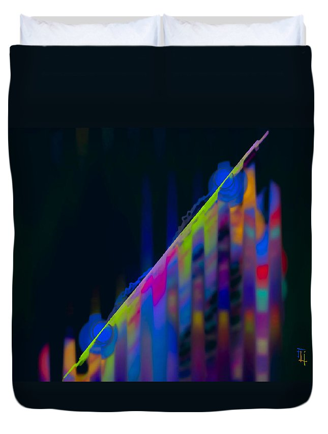 Abstract Duvet Cover featuring the digital art M3tro 3 by Fli Art