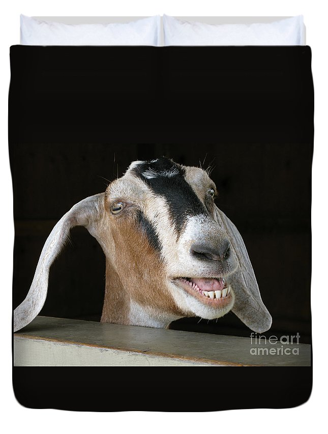 Goat Duvet Cover featuring the photograph Maa-aaa by Ann Horn
