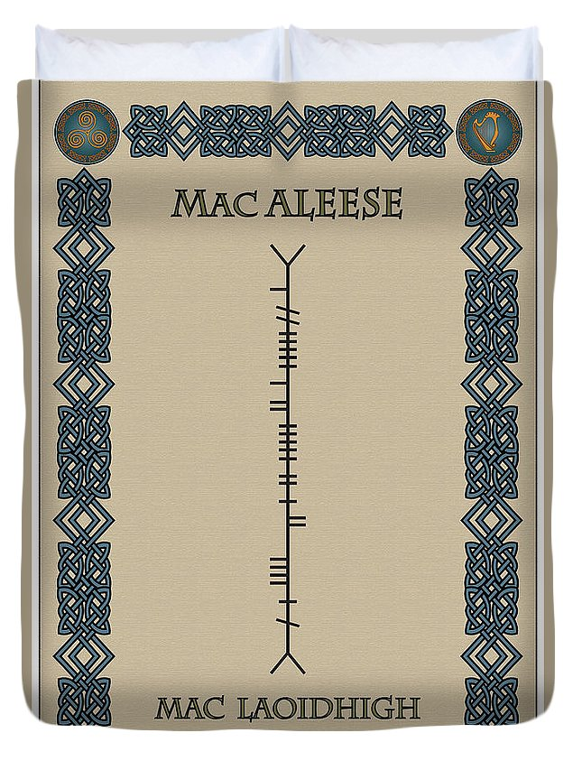 Macaleese Duvet Cover featuring the digital art Macaleese Written In Ogham by Ireland Calling