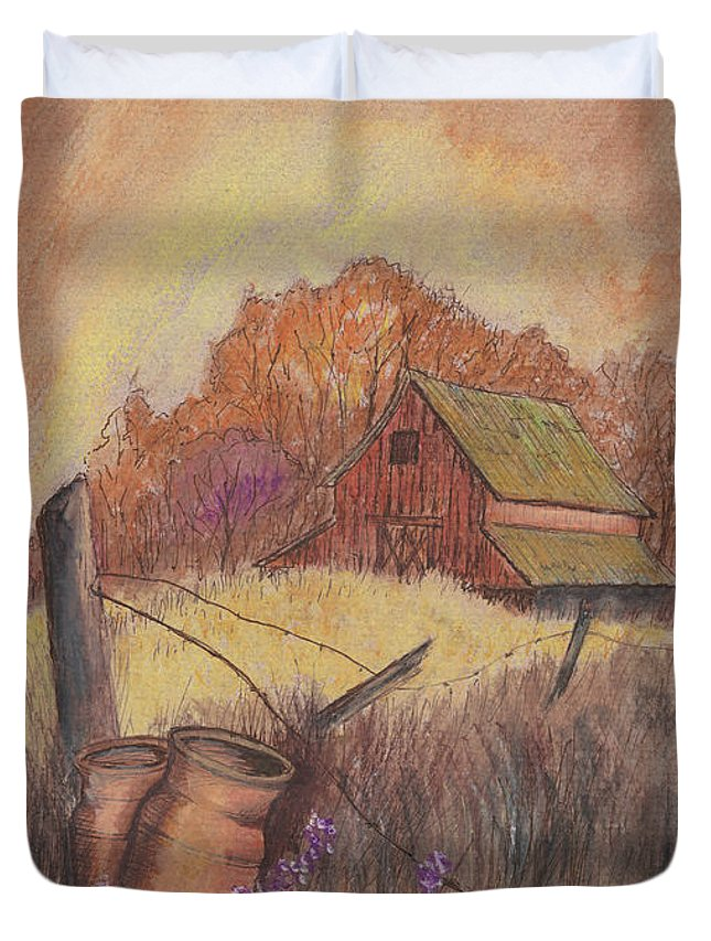 Pastel Drawing Duvet Cover featuring the drawing Macgregors Barn Pstl by Carol Wisniewski
