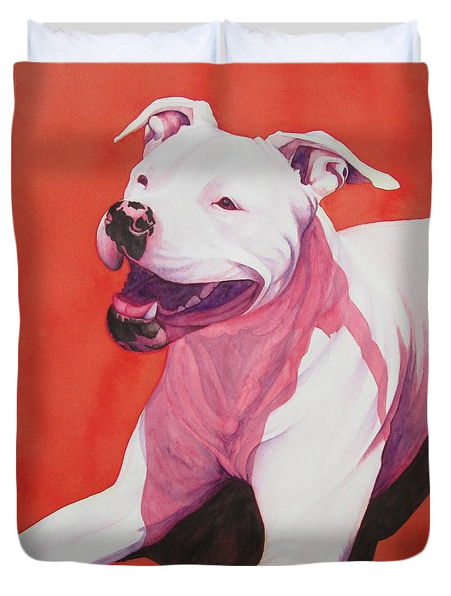 Pitbull Duvet Cover featuring the painting Machappy by Lesley McVicar