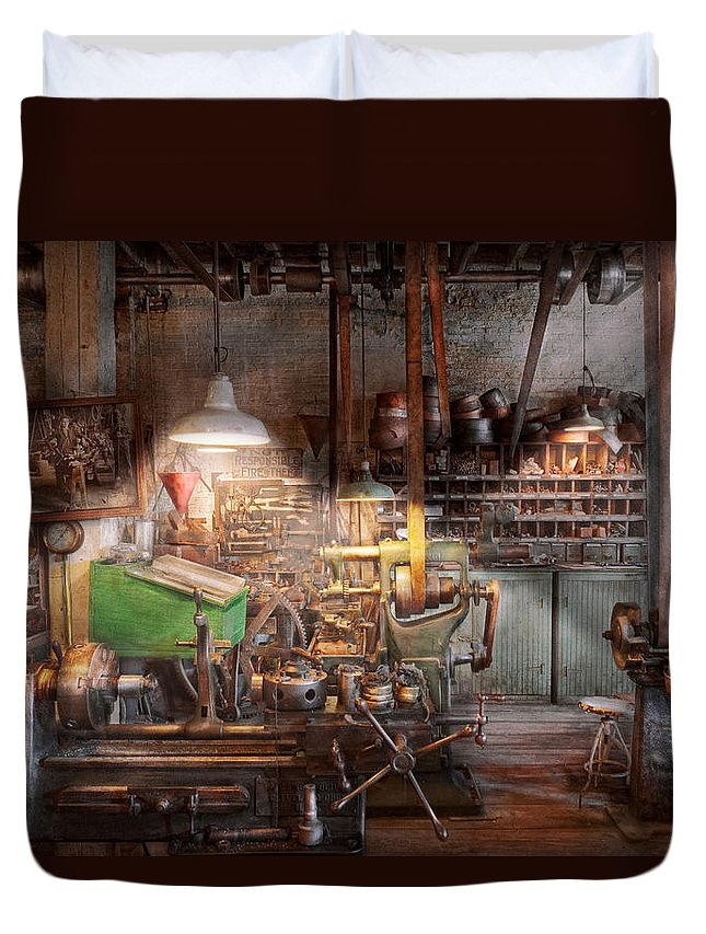 Machinist Duvet Cover featuring the photograph Machinist - It All Starts With A Journeyman by Mike Savad