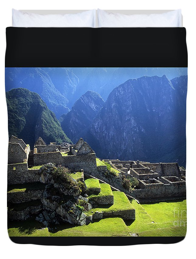 Peru Duvet Cover featuring the photograph Machu Picchu And Urubamba Canyon by James Brunker