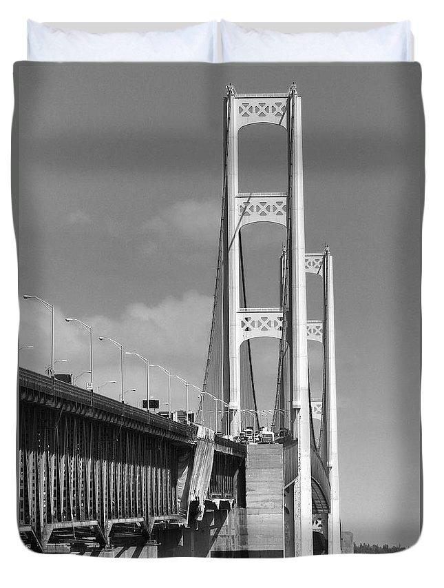 The Mackinac Bridge View Duvet Cover featuring the photograph Mackinac Bridge In Michigan by Dan Sproul