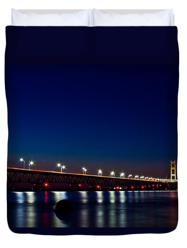 Michigan Duvet Cover featuring the photograph Mackinac Bridge Just After Sunset by John McGraw