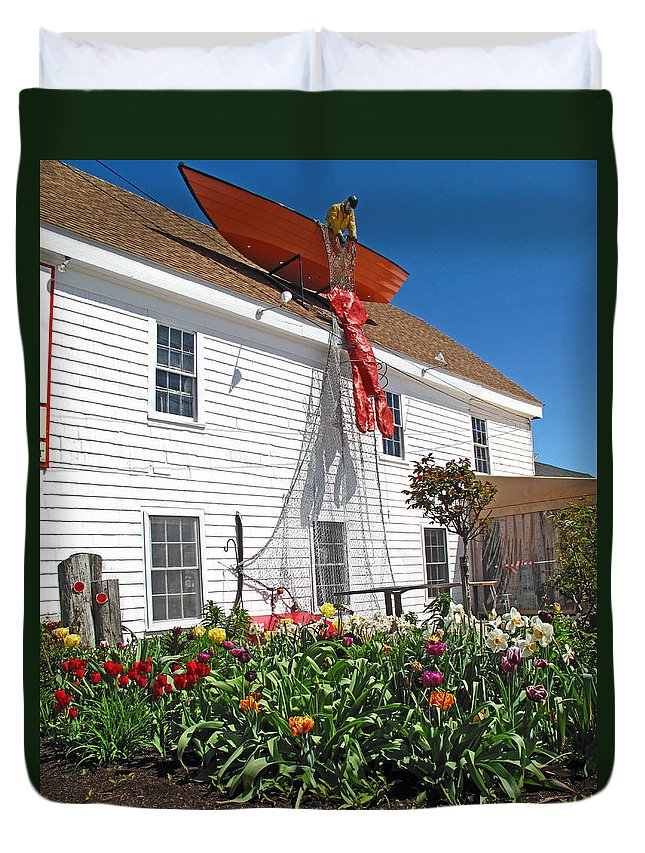 Fish Duvet Cover featuring the photograph Mac's Seafood by Barbara McDevitt
