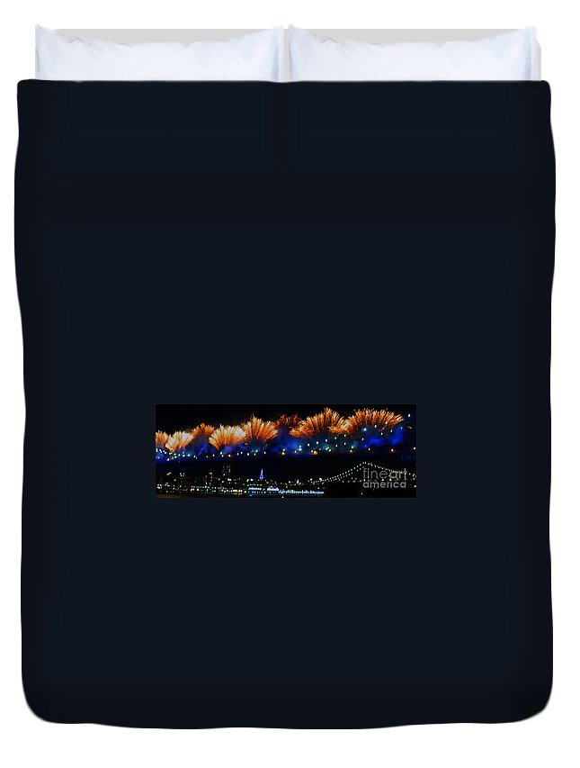 Brooklyn Bridge Duvet Cover featuring the photograph Macy's 2014 Fireworks by Kendall Eutemey