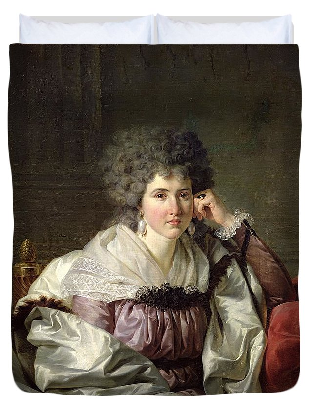 Female Duvet Cover featuring the photograph Madame Nicaise Perrin, Nee Catherine Deleuze Oil On Canvas by Jean Charles Nicaise Perrin