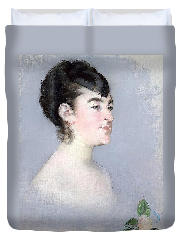1879-1882 Duvet Cover featuring the painting Mademoiselle Isabelle Lemonnier by Edouard Manet