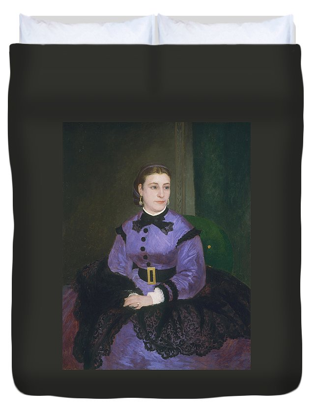 Auguste Renoir Duvet Cover featuring the painting Mademoiselle Sicot by Auguste Renoir