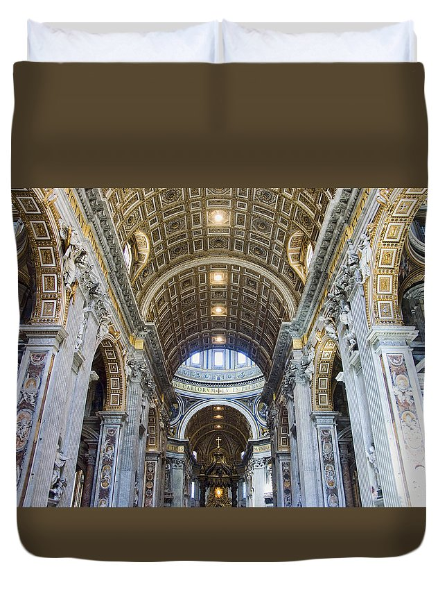 Madernos Nave Ceiling Duvet Cover featuring the photograph Maderno's Nave Ceiling by Ellen Henneke