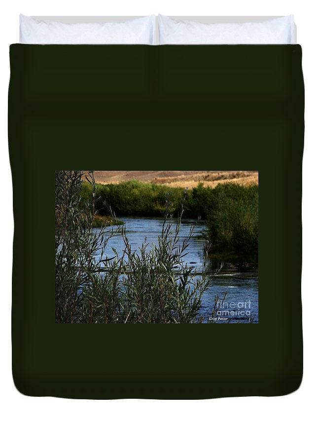 Madison River Duvet Cover featuring the photograph Madison River by Greg Patzer