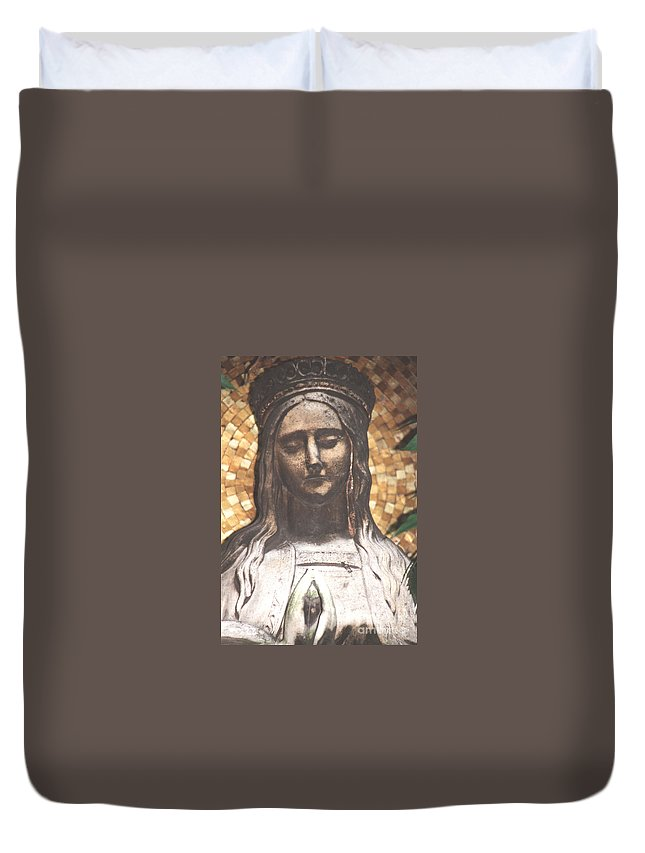 Spirit Duvet Cover featuring the photograph Madonna Praying by Heidi Sieber