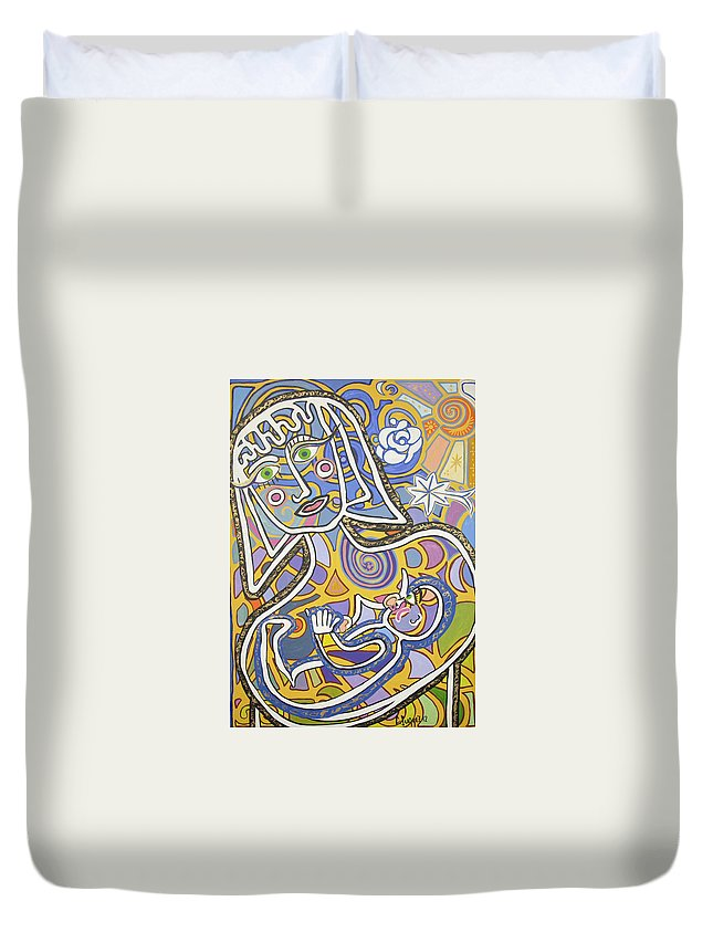 Madre Duvet Cover featuring the painting Madre by Claudia Suarez alvez
